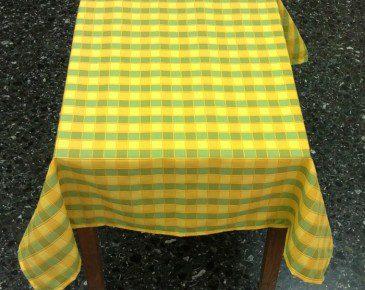 Τραπεζομάντηλο Μικρό Καρό Κίτρινο-Πράσινο